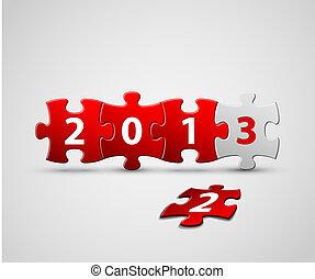 hecho, artículos del rompecabezas, tarjeta, año, nuevo, ...