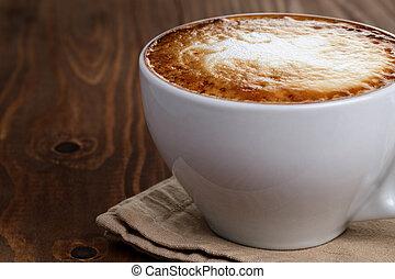 hecho, arte, taza, resumen, latte, capuchino, recientemente