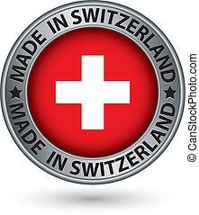 hecho, bandera, ilustración, etiqueta, vector, suiza, plata