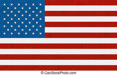 hecho, bordado, bandera estadounidense, cross-stitch., plano...