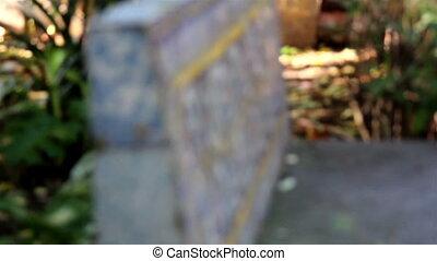 hecho, cemento, banco, marcador, lápida, o