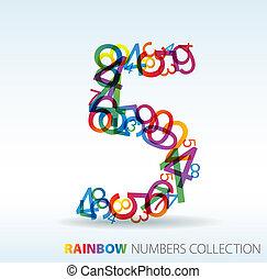 hecho, cinco, número, colorido, números