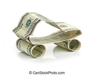 hecho, coche, dólar, aislado, plano de fondo, blanco