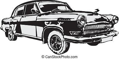 hecho, coche, -, eps, vector, retro