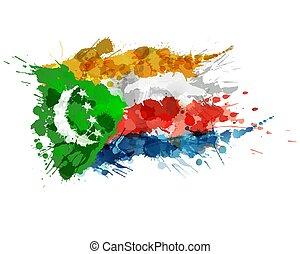 hecho, colorido, bandera de la unión, salpicaduras, comoros