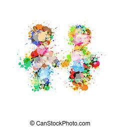 hecho, colorido, gente, resumen, dos, salpicaduras, manos de...