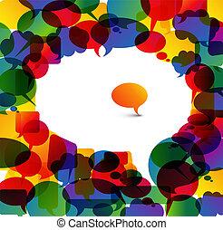 hecho, colorido, grande, discurso, pequeño, burbujas,...