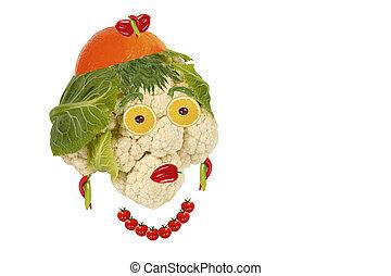 hecho, comida., mujer, vegetabl, fruits, retrato, ??of,...