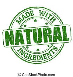 hecho, con, natural, ingredientes, estampilla