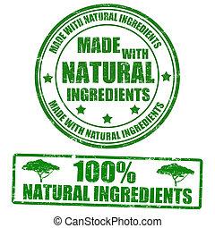 hecho, con, natural, ingredientes, sellos
