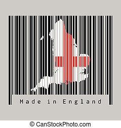 hecho, contorno, color, bandera, gris, barcode, forma, mapa, text:, conjunto, england., negro, inglaterra, plano de fondo