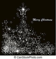 hecho, copos de nieve, árbol, vector, fondo negro, navidad