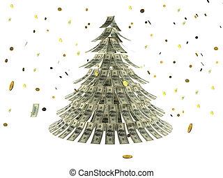 hecho, dólares, árbol, nieve, moneda, navidad