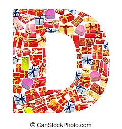 hecho,  D, alfabeto,  -, carta,  giftboxes