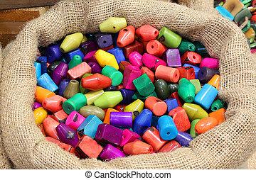 hecho, dentro, material, saco, botones, vegetabl, llamado,...
