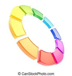 hecho, diez, segmentos, aislado, redondo, círculo, marco