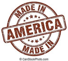 hecho, en, américa, marrón, grunge, redondo, estampilla