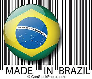 hecho, en, brasil, barcode., vector, ilustración
