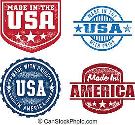 hecho, en, estados unidos de américa, vendimia, sellos