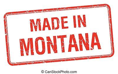 hecho, en, montana, cuadrado rojo, aislado, estampilla