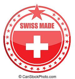 hecho, en, suiza, sello, diseño