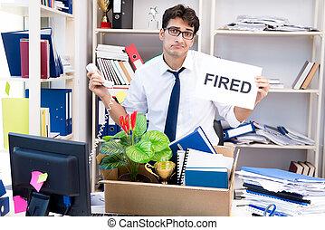 hecho, encendido, ser, trabajo, redundante, empleado