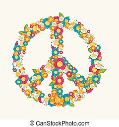 hecho, eps10, símbolo, paz, aislado, composición, flores, ...