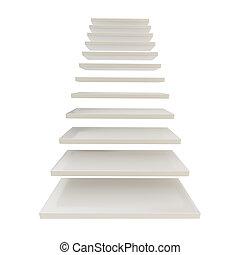 hecho, escalera, escalera, aislado, pasos, blanco