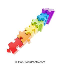 hecho, escalera, rompecabezas, pedazos jigsaw, brillante