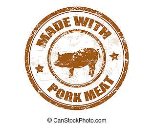 hecho, estampilla, cerdo, carne