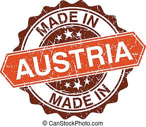 hecho, estampilla, vendimia, aislado, austria, plano de...