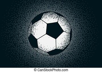 hecho, fútbol, stipple, creativo, puntos, diseño
