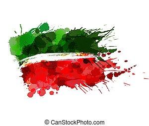 hecho, federación, colorido, tatarstan, bandera, república,...
