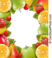 hecho, fruit., jugoso, vector., marco, fresco