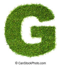 hecho, g, aislado, verde, carta, blanco, pasto o césped