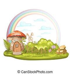 hecho, gnomo, hongo, casa, claro, verde