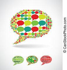 hecho, grande, discurso, pequeño, burbujas, burbuja