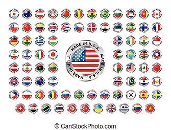 hecho, iconos, país, extranjero, brillante, blanco