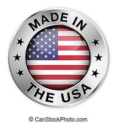 hecho, insignia, plata, estados unidos de américa