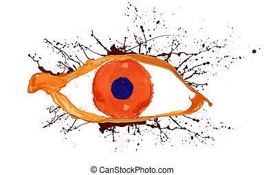 hecho, ojo, coloreado, aislado, pintura, salpicaduras, plano...
