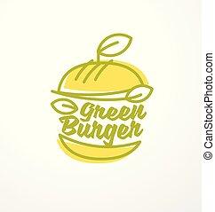 hecho, orgánico, ingredientes, sano, hamburguesa, verde