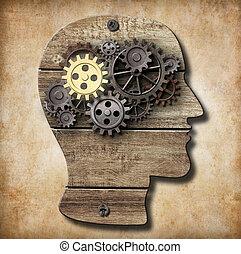 hecho, oro, metal, uno, cerebro, oxidado, engranajes, modelo