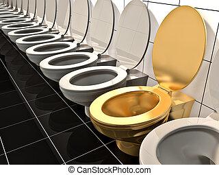 hecho, oro, oficina, élite, toilet., 3d