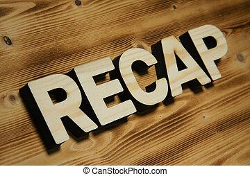 hecho, palabra, de madera, recap, board., cartas, bloque