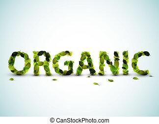 hecho, palabra, -, vector, verde, orgánico, leafs, fresco