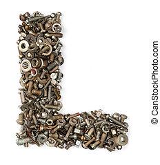 hecho, pernos, alfabeto, -, l, carta