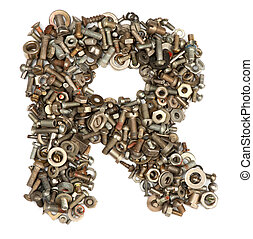 hecho, pernos, alfabeto, -, r, carta