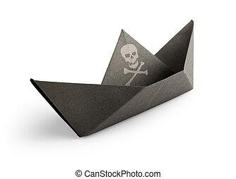 hecho, pirata, papel, plano de fondo, blanco, barco