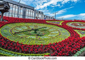 hecho, príncipes, reloj, jardines, calles, scotland., reino unido, flores, edimburgo