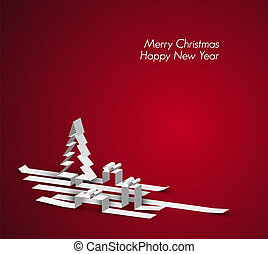 hecho, rayas, papel, feliz navidad, tarjeta